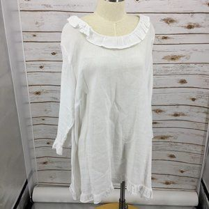 Match Point tunic linen ruffle Lagenlook white L